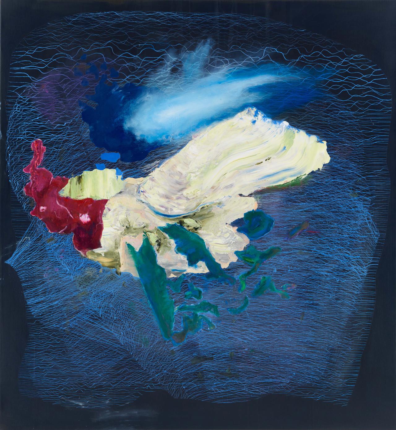 Frank Wiebe, Outpost Mappings #019, 2019, Öl auf Leinwand, 135 x 125 cm