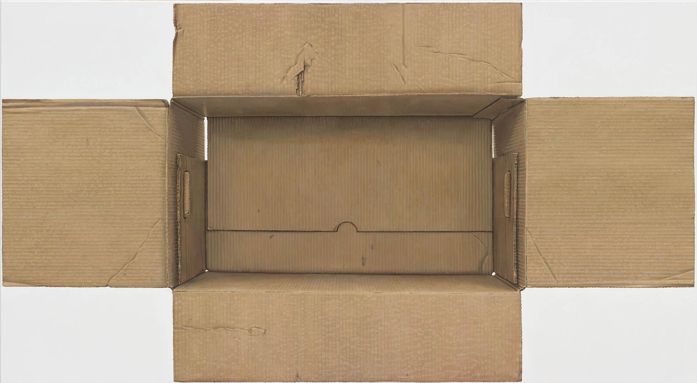 René Wirths, Karton, 2015, Öl auf Leinwand, 110 x 200 cm
