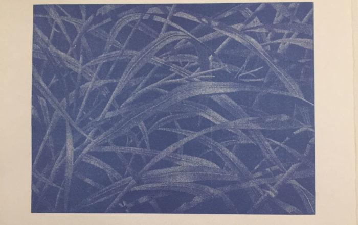 Franz Gertsch, Bagatelle III - Gräser, 2003, Holzschnitt in Blau (Ultramarin). Eine Platte. Handabzug auf Kumohadamashi-Japanpapier von Heizaburo Iwano, 76 x 103 cm / 107 x 130 cm