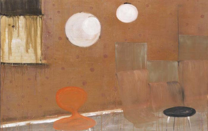Norbert Schwontkowski, Der rote Stuhl, 2007, Öl auf Leinwand, 180 x 200 cm