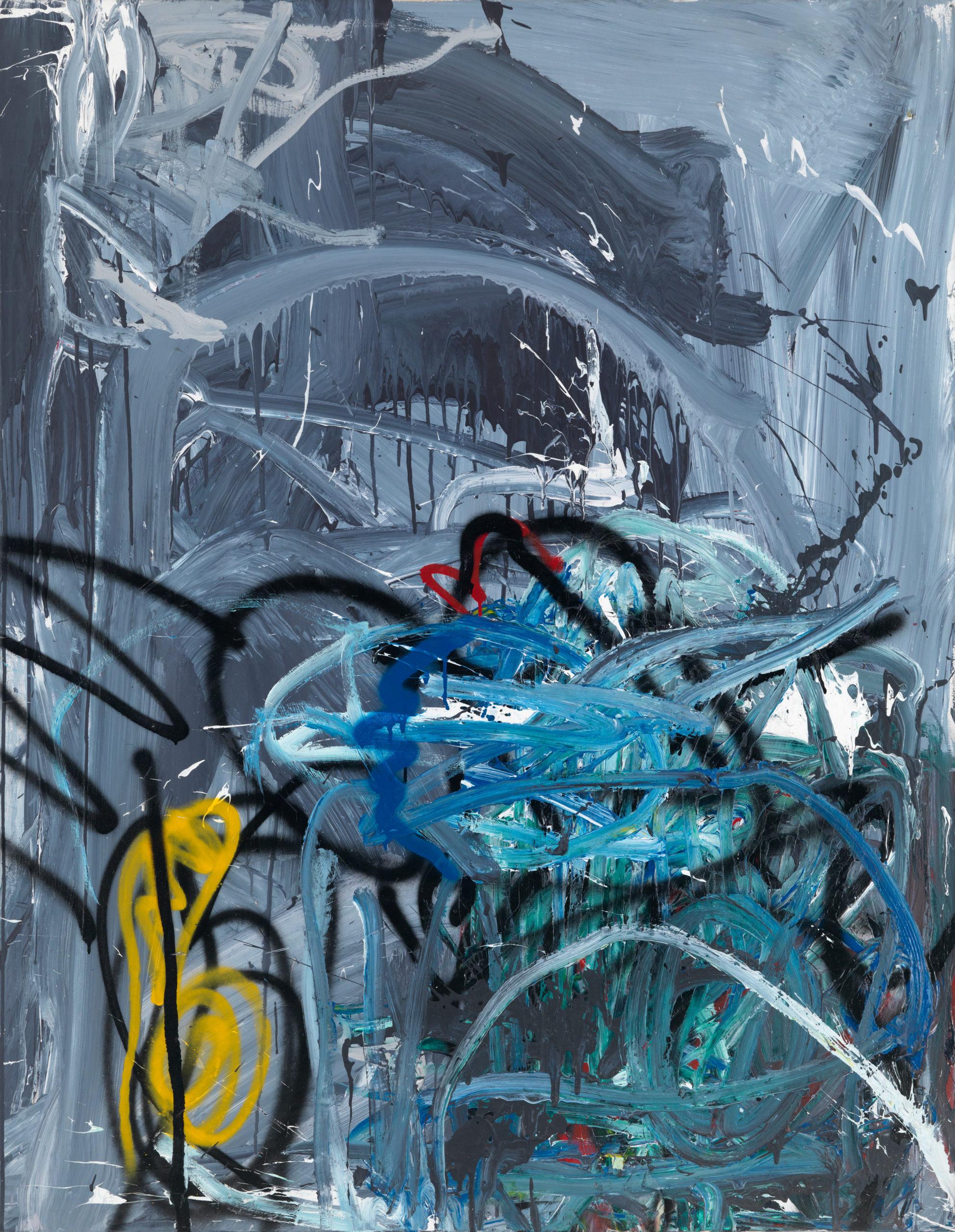 Reinhard Pods, Ohne Titel, 1983, Öl, Spray auf Leinwand, 140 x 110 cm