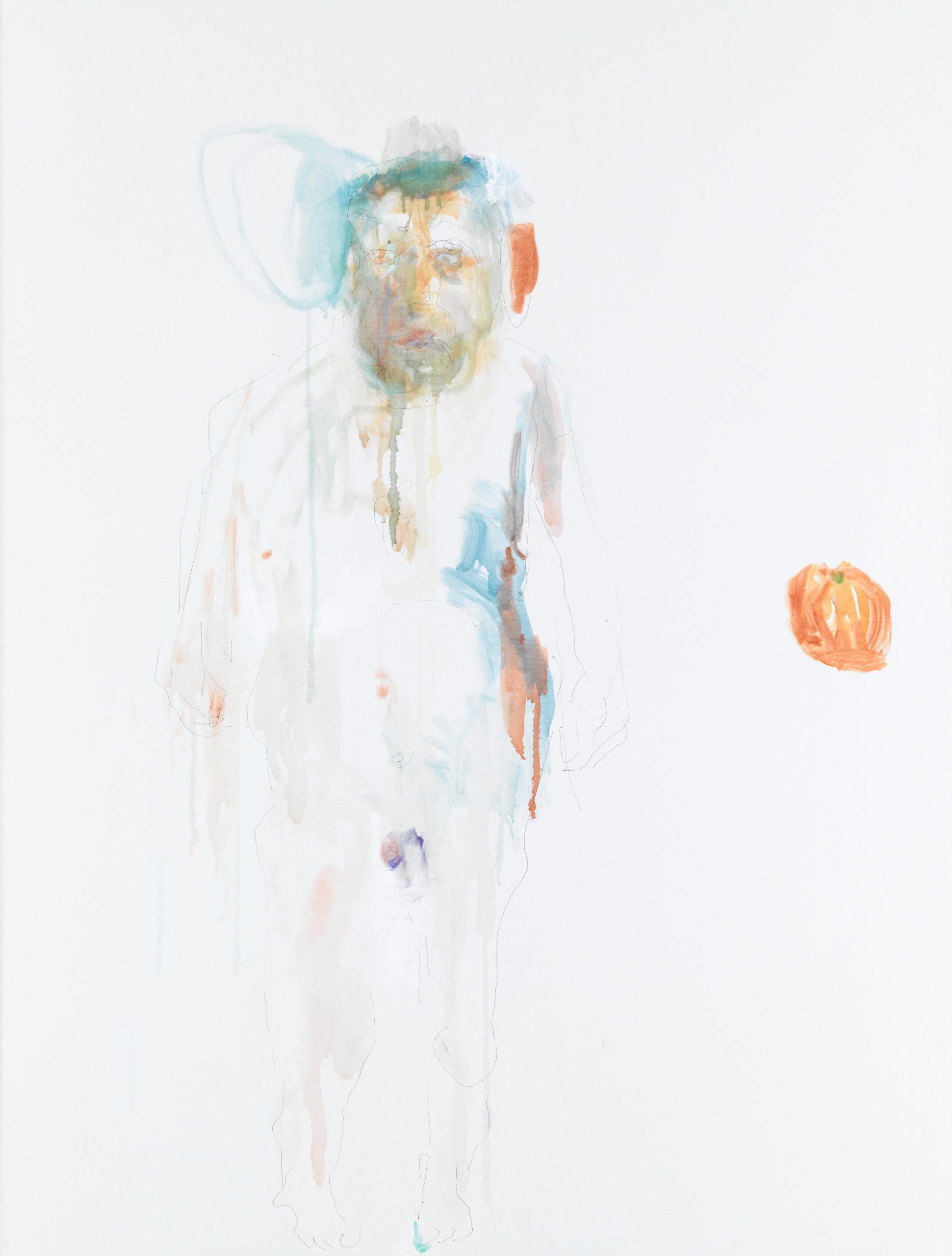 Reinhard Pods, Untitled (selbst), 2021, biro, watercolour on canvas, 170 x 129.8 cm