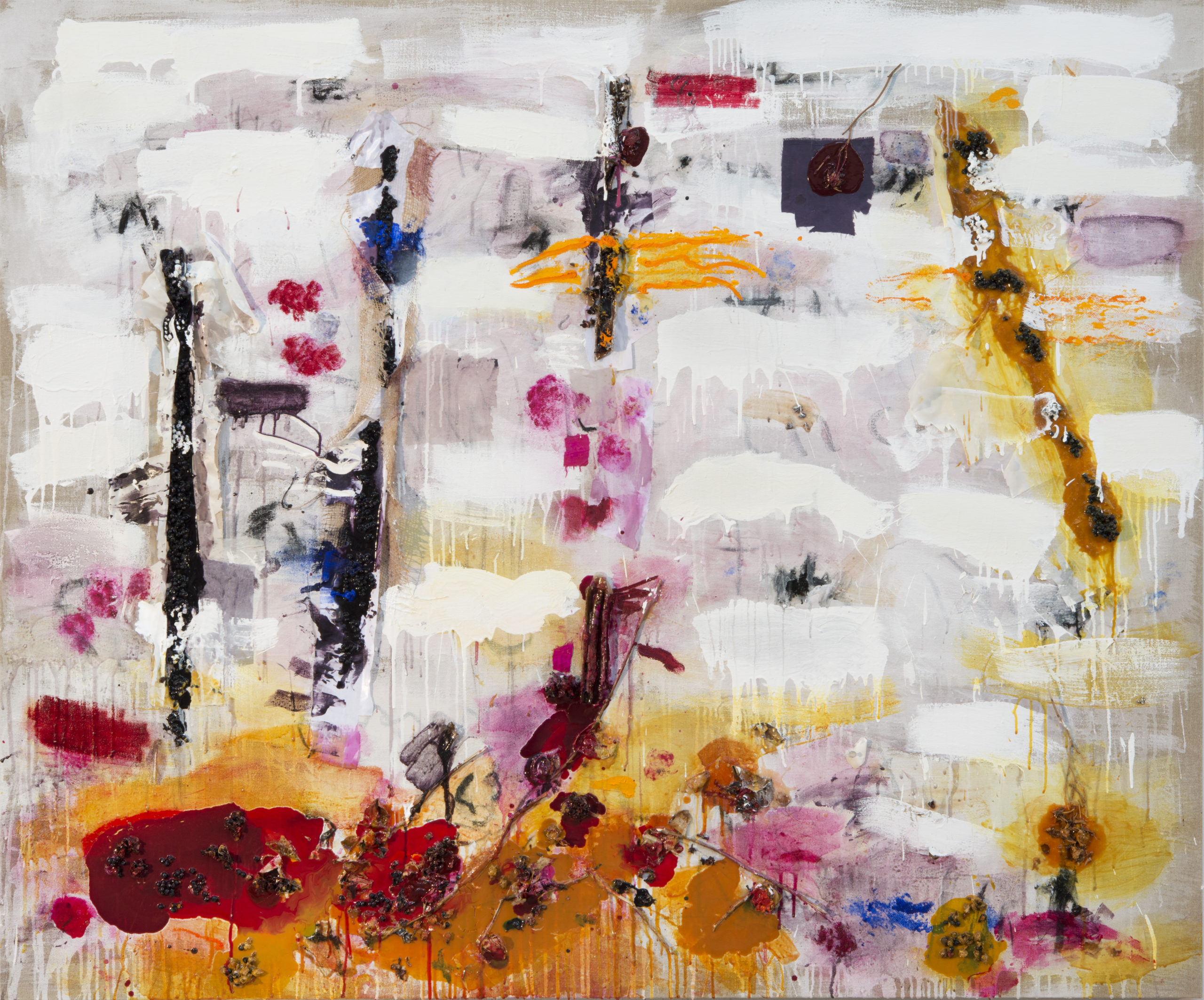 Joan Snyder, Silk and Berries, 2013, oil, acrylic, charcoal, burlap, silk, berries, herbs, dried flowers on linen, 152.4 x 182.8 cm